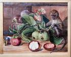 Flowers and fruit of the mangosteen, and Singapore monkey, by Marianne North