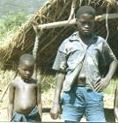 Children with umbilical hernias, Sierra Leone (West Africa), 1967
