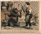 A monkey rejects the old style clyster for his new 'clyso-pompe', which he fills with opium and marshmallow. Coloured lithograph.